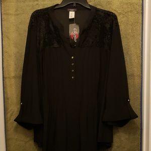 Black stretch 3/4 button down womens 3x blouse